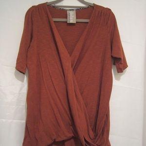 "Anthro Dolan L Cross Over Shirt Rust 44"" Fall"